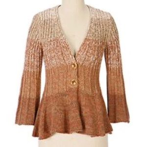 🆕 Anthropologie Ombré Peplum Cardigan Sweater, L